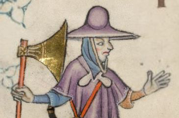Man with hat and hooded cape, c.1325-1335