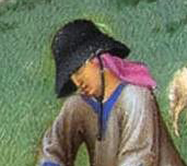 Black hat and colored head wrap, c. 1415