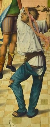 This appears to show joined hosen suspended from a shaped belt, rather than a doublet. c. 1480