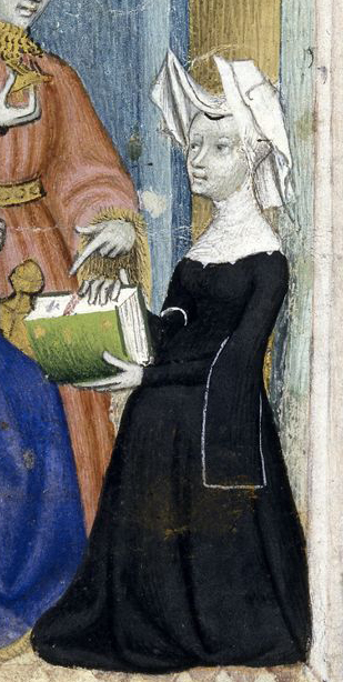 Possibly a nonne in a wimple and vail. Notice the sleeves of her black dress as well as her head gear. She could also be a widdow. c 1410 - 1414