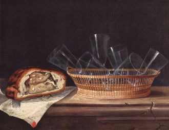 Sebastian Stoskopff (1597 –1657). A simpler postej with some kind of meat inside.