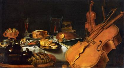 """""""Still Life With Musical Instruments"""" by Pieter Claesz, 1623. It looks like the postej is filled with fruit - among those an orange of some kind."""
