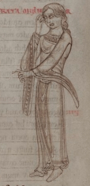 Bare headed woman in a bliaut, c. 1150
