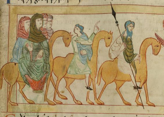 Women riding sidesaddle wearing a chape and a bliaut on a camel.