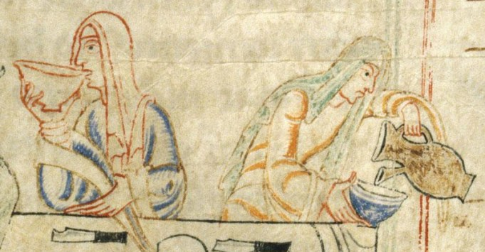 Two ladies at the table in wide sleeved dresses and veils. c. 1009-1111