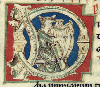 Queen playing the harb in a bliaut that stops at the alboves, c. 1125-1150