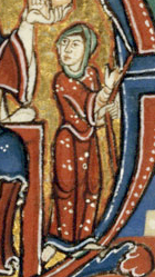 Woman wearing a bliaut with a narrow sleeved cote underneath, c. 1125-1150