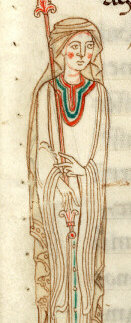 Front detail of the overdress, 1100's
