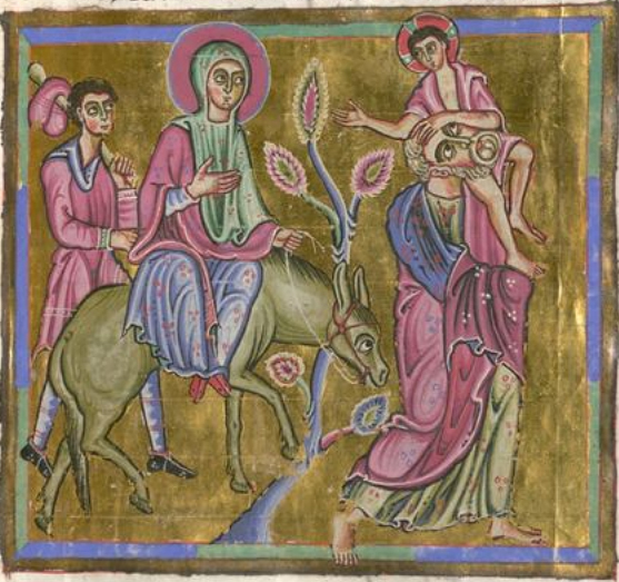 Virgin Mary (I think) on the donkey. She wears a cote, a chape and a circular cape or perhaps a draped mantle, c. 1050