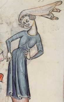Woman in a decorated cote with a high neckline, 1325-1340