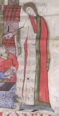 Woman wearing a full length tunic with a wide colored area around the neck. It seem to be loose. And she seems to be wearing a tighter very long sleeved (see the rikles) shift underneath.