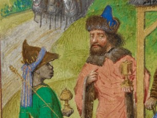 Two men talking outside the barn were jesus was born. On wearing a brown bycoke and one wearing a funky fur trimmed one. I am guessing they are two of the tree wise men, c. 1485-1490