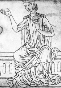 Woman in a barbette and coif, cyclas, gown and mantle. Sketch by Villard de Honnecourt, c.1230