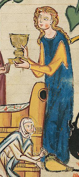 Lady in a blue cyclas over a yellow cote, c. 1300 - 1340