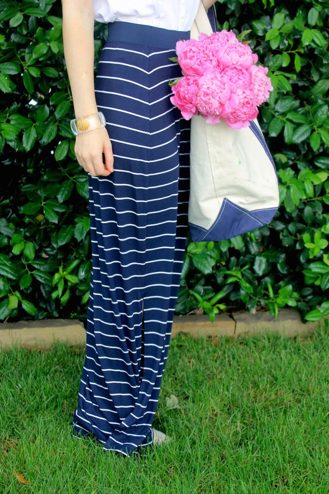 Navy And White Striped Maxi Skirt - Skirts