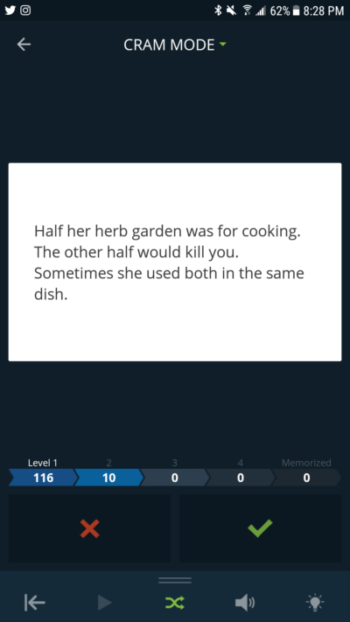 "Screenshot of Cram.com flashcard, with text ""Half her herb garden was for cooking. The other half would kill you. Sometimes she used both in the same dish."""