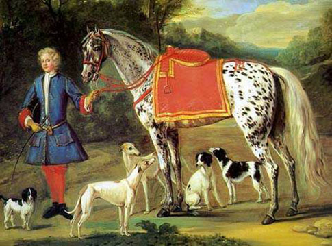 Painting of a person holding a blanketed leopard-spotted horse, with dogs milling around their feet.