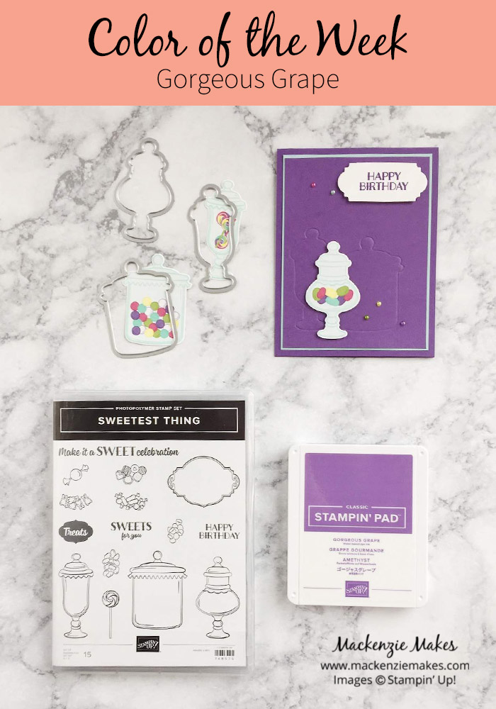 Color of the Week -Gorgeous Grape – Click through to see this week's Color of the Week - Gorgeous Grape. Find color combinations and comparisons, and a list of products containing this color. | #mackenziemakes #makewithcolor #stampinup | www.mackenziemakes.com