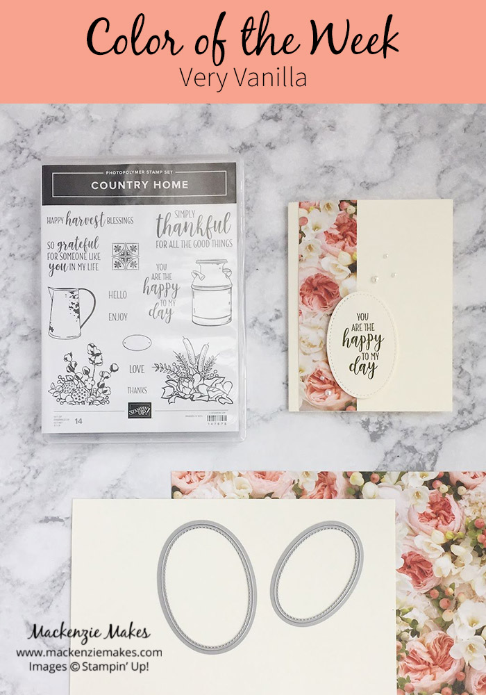 Color of the Week -Very Vanilla – Click through to see this week's Color of the Week - Very Vanilla. Find color combinations and comparisons, and a list of products containing this color. | #mackenziemakes #makewithcolor #stampinup | www.mackenziemakes.com