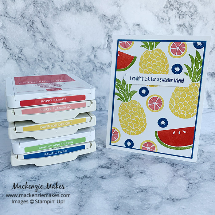 Cute Fruit Swap Cards – Click through to learn how to make this bright, fruity card using the Cute Fruit stamp set from Stampin' Up! | #mackenziemakes #stampinup | www.mackenziemakes.com