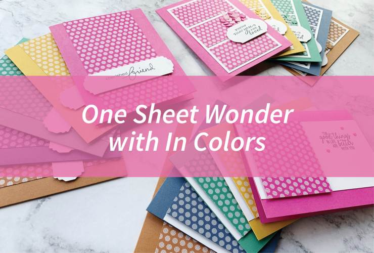 "One Sheet Wonder with In Colors – Click through to see 5 fun sets of cards. Each set features one sheet of 6"" x 6"" Designer Series Paper from Stampin' Up! 