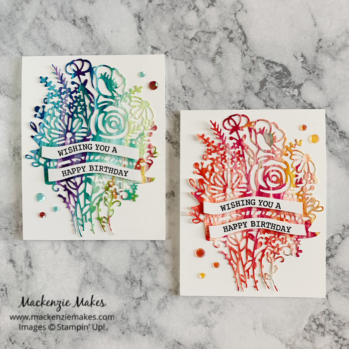 October 2020 Technique Blog Hop - Shaving Cream Technique – Click through to learn how to make a colorful marbled background by using the shaving cream technique. | #mackenziemakes #stampinup | www.mackenziemakes.com
