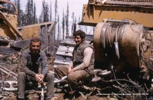 During the attempted clearing of the valley before Williston Lake, the second method of clearing was dragging a cable between two cats using a huge steel ball as an anchor. The links were 2 1/2 inches thick and the steel ball is sitting now by the Worlds Largest Tree Crusher.