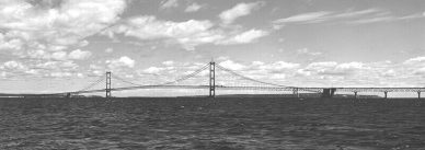 Image result for 1957 – The Mackinac Bridge, the world's longest suspension bridge at the time, opens