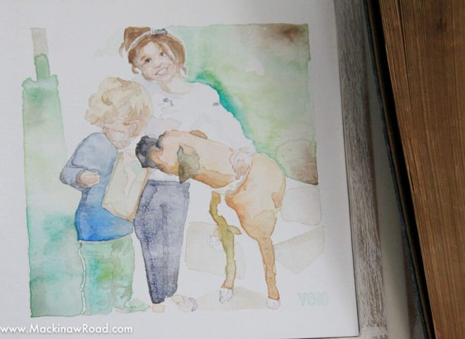 Painting of dog with kids