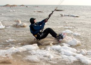 Is it kiteboarding or snowkiting when there's snow in the water?