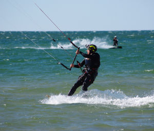 New kiteboarder on the water