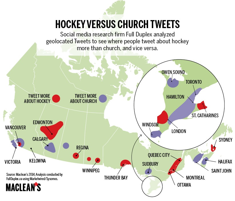Hockey vs. Church Tweets