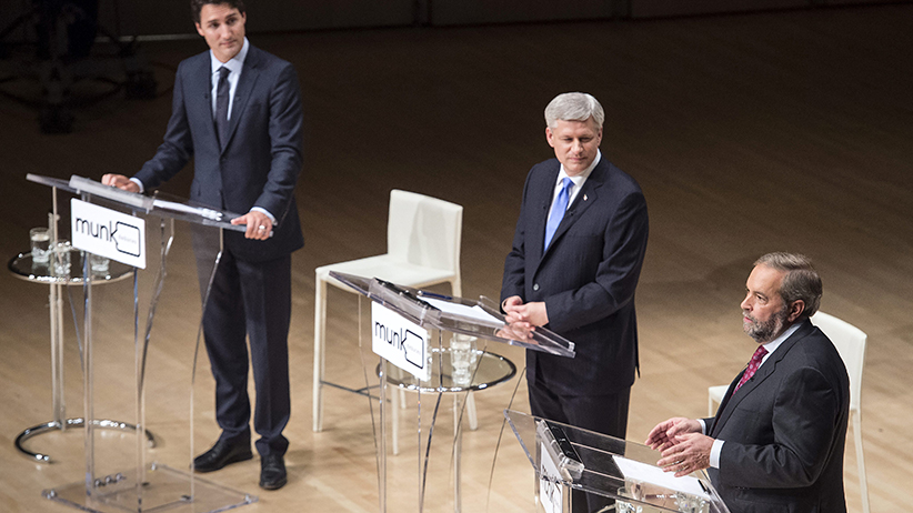 Liberal Leader Justin Trudeau, left to right, Conservative Leader Stephen Harper and NDP Leader Thomas Mulcair take part in the Munk Debate on foreign affairs, in Toronto, on Monday, Sept. 28, 2015. (Andrew Vaughan/CP)