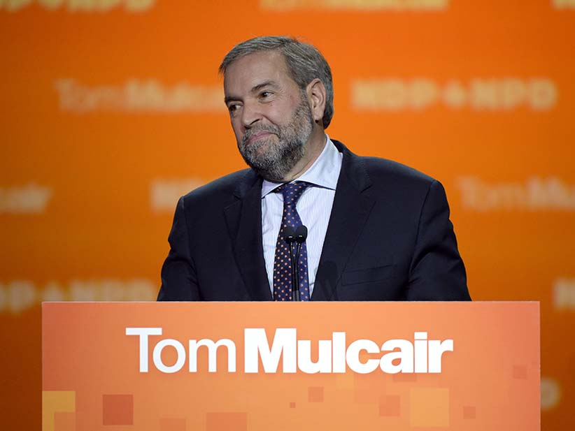 NDP Leader Tom Mulcair speaks to supporters, Monday, Oct. 19, 2015 in Montreal. (Ryan Remiorz/CP)