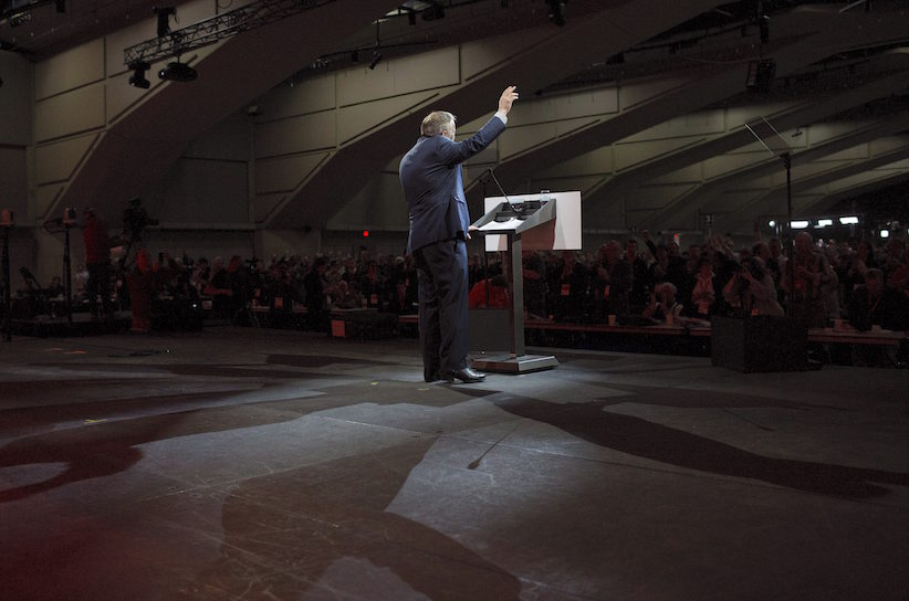 Federal NDP leader Tom Mulcair waves to the crowd after his speech during the 2016 NDP Federal Convention in Edmonton Alta, on Sunday, April 10, 2016. THE CANADIAN PRESS/Jason Franson