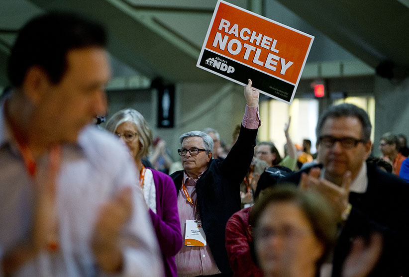Supporters applaud Alberta Premier Rachel Notley as she makes her speech during the 2016 NDP Federal Convention in Edmonton Alberta, April 9, 2016. Jason Franson for Maclean's Magazine.