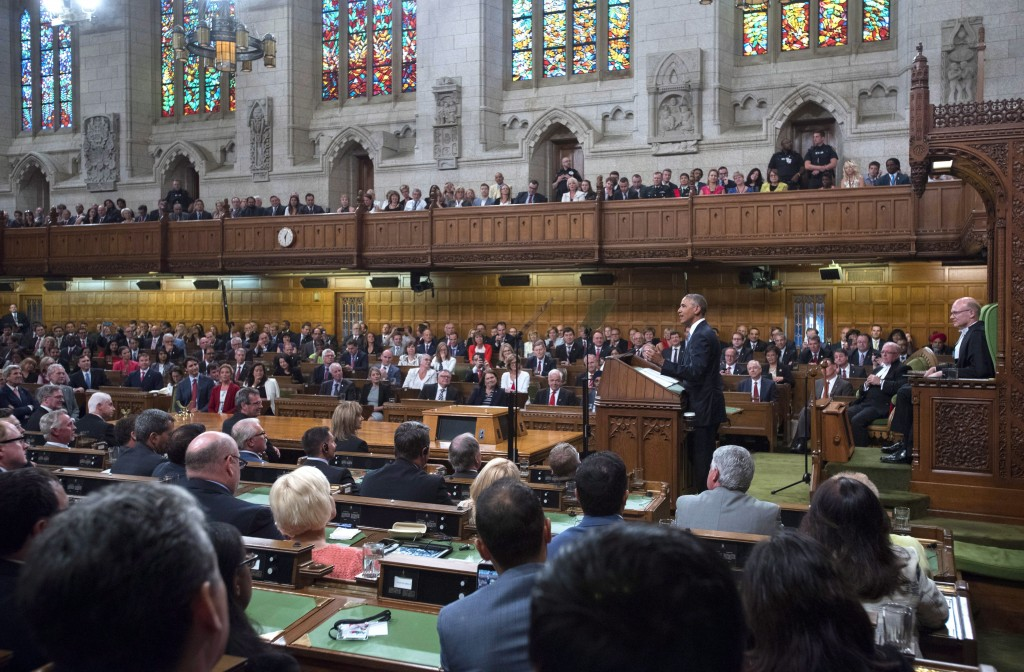 U.S. President Barack Obama addresses Parliament in the House of Commons on Parliament Hill, in Ottawa on Wednesday, June 29, 2016. THE CANADIAN PRESS/Justin Tang