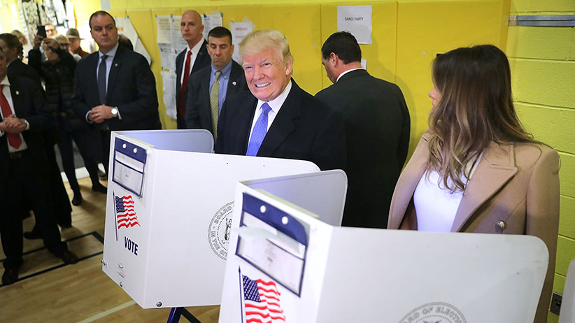 Republican presidential nominee Donald Trump and his wife Melania Trump cast their votes on Election Day at PS 59 November 8, 2016 in New York City. Trump's marathon final two days of campaigning marched through 10 cities in two days, stretching into Election Day.  (Chip Somodevilla/Getty Images)