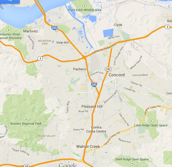Central Contra Costa Map