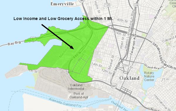 Map of West Oakland Food Desert