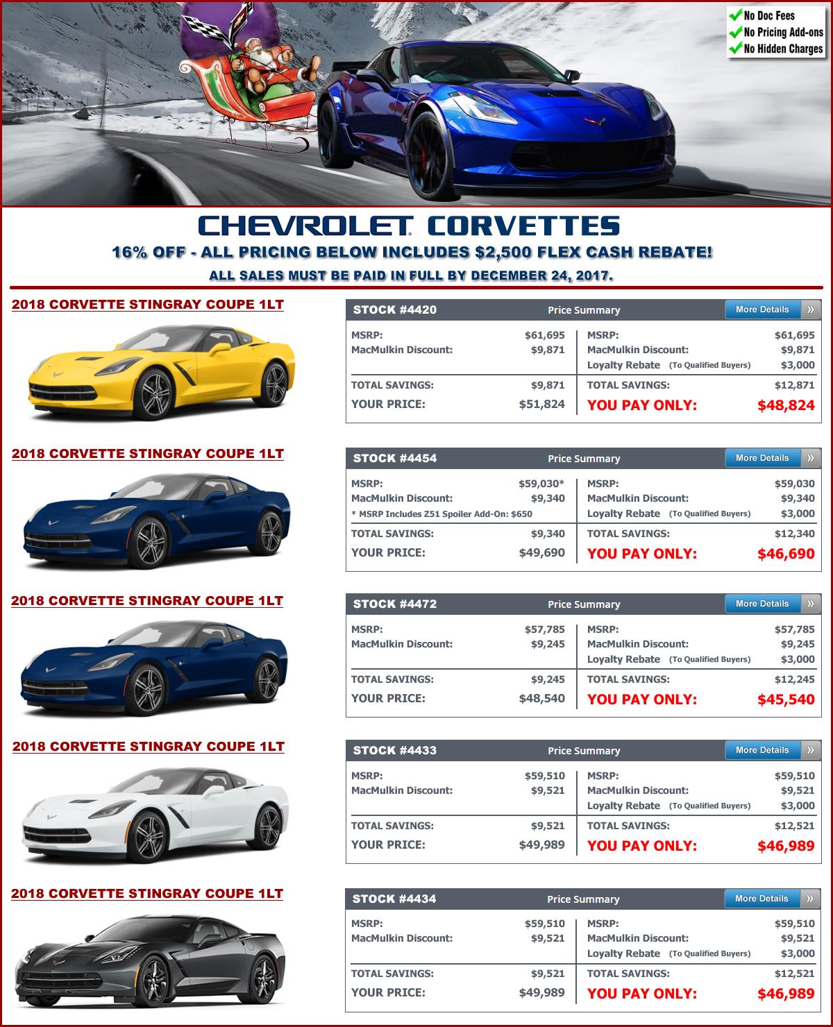 MacMulkin Chevrolet 20 18 Corvette Blowout Sale