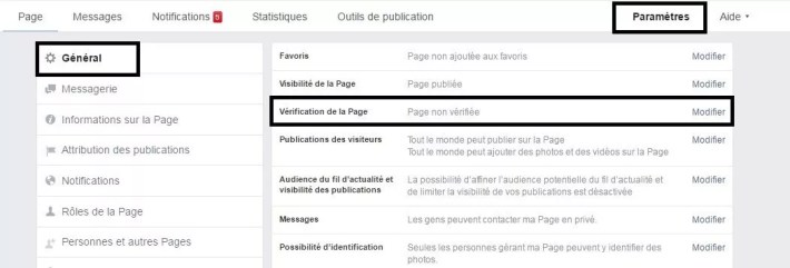 Vérification de page Facebook