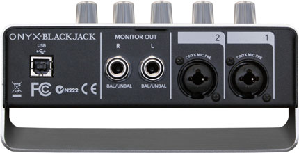 Mackie Onyx Blackjack USB audio interface, rear ports