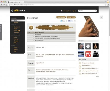 Ohm Studio user profile