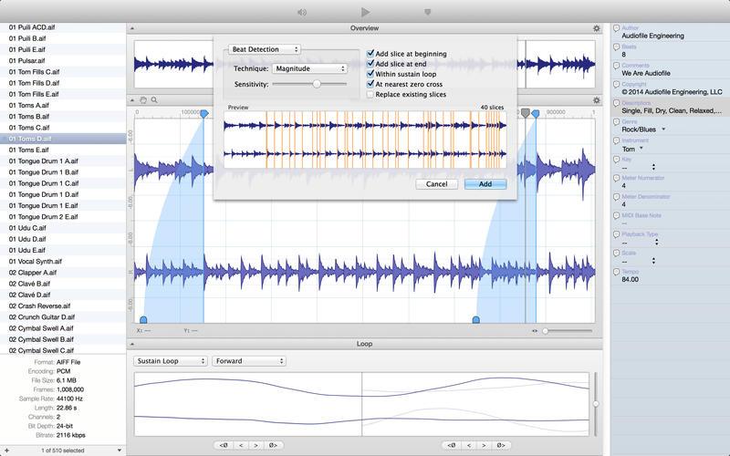 Audiofile Loop Editor 2 Steps In for Apple Loops Utility