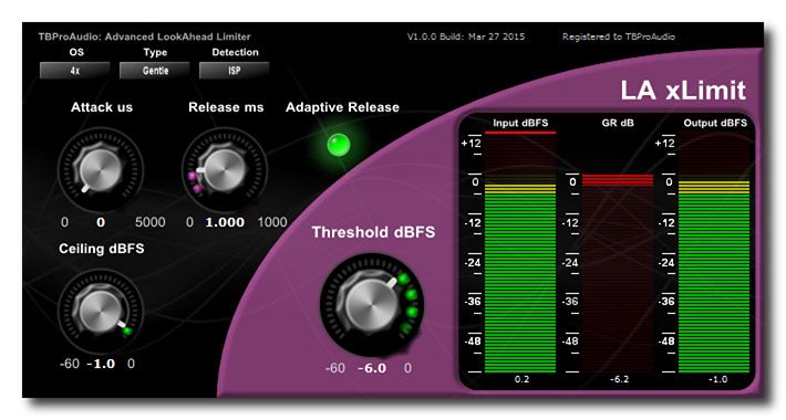TBProAudio LA xLimit Fights Intersample Peaks & Aliasing
