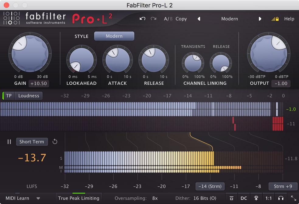 FabFilter releases Pro-L 2 true peak limiter
