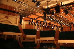 The extension of stage lighting system, installed with 70 downlights and profile spotlights with different field angles, can be raised and lowered above the stage, to provide better sound reflection for concert performances.