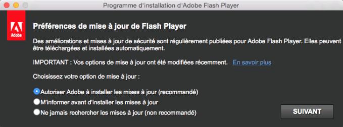 flash yosemite autoriser mises a jour ou pas