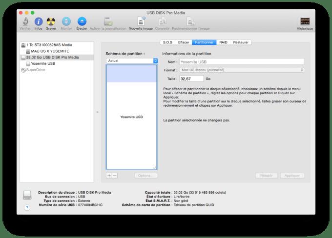 installer Yosemite sur cle USB formatage